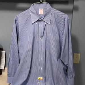 Brooks Brothers 17.5-33 blue stripe dress shirt